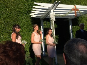 The bridesmaids await the bride