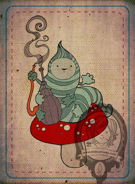 """Kelley Frisby Illustration Alice in Wonderland Caterpillar """"Who Are You?"""""""