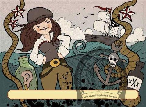 """Kelley Frisby Illustraton femal pirate """"Sadie The Goat"""""""
