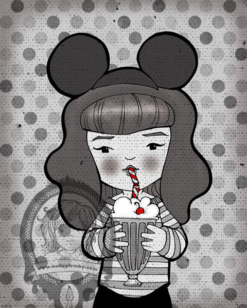 "Kelley Frisby Illustration Vintage Inspired PinUp ""Mouseketeer"""