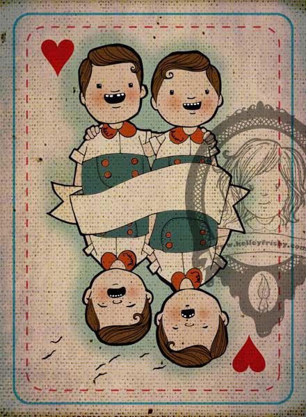 "Kelley Frisby illustration Alice in Wonderland art ""Tweedle Dee and Dum"""
