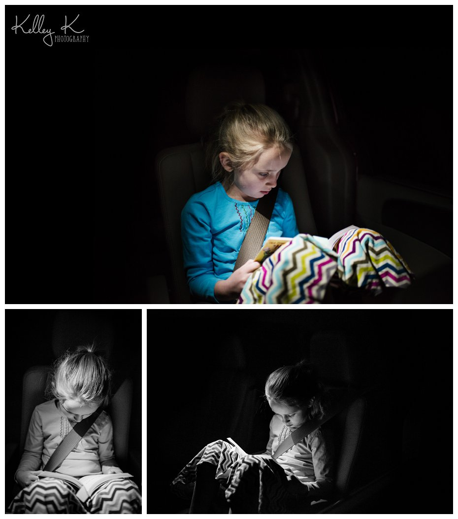 Child reading in the car at night | Kelley K Photography - Smyrna