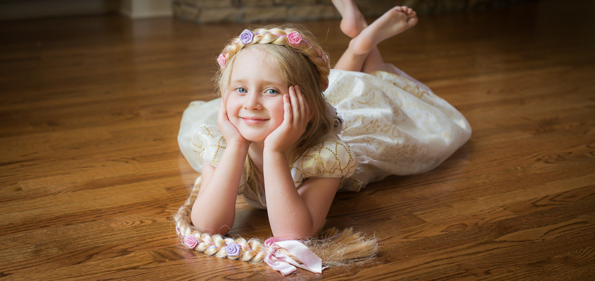 Girl dressed as Rapunzel | Kelley K Photography