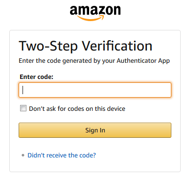 Amazon.com Two-Step Verification window