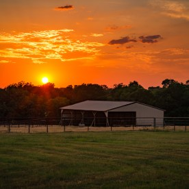 Landscape photo of sunset on a ranch in North Texas