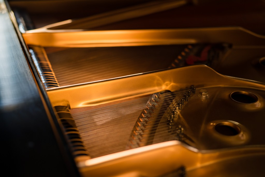 Strings of a baby grand piano