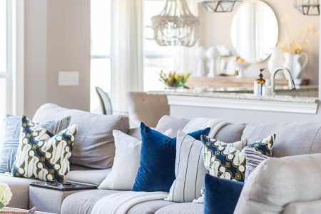 2018 Spring Home Tour  Decorating Ideas for Every Room in the House     Blue Pillow Ideas in the Living Room
