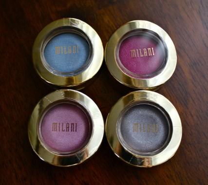 Milani Eyeshadow Shades: Bella Pink, Bella Silver, Bella Sky, Bella Fuchsia