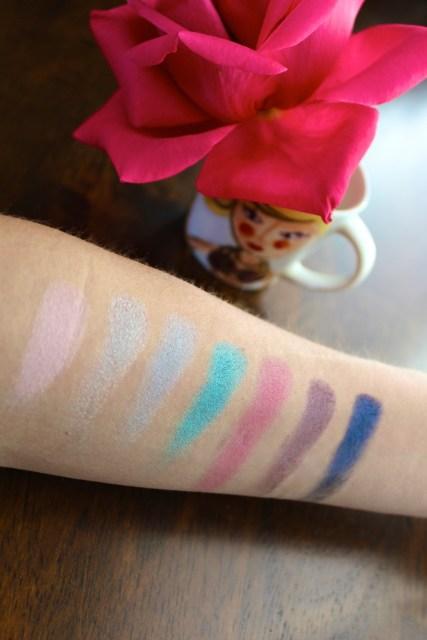 Dry Swatches/Milani Eyeshadows | Shades: Bella Pink, Bella Silver, Bella Sky, Bella Teal, Bella Fuchsia, Bella Purple, Bella Navy