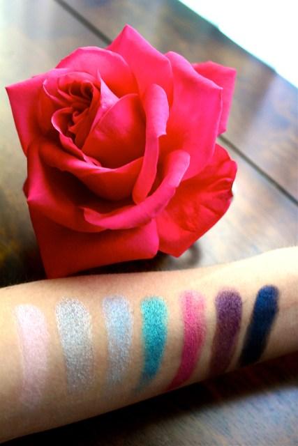 Wet Swatches/Milani Eyeshadows | Shades: Bella Pink, Bella Silver, Bella Sky, Bella Teal, Bella Fuchsia, Bella Purple, Bella Navy