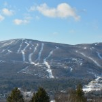 Okemo Mountain and Jackson Gore blanketed with snow.