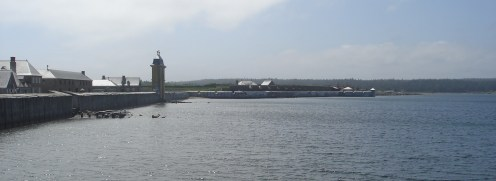 A view from the water approaching Fortress Louisbourg.