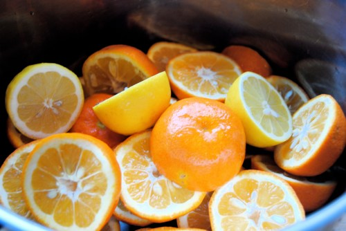 cut seville oranges and lemons