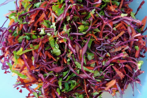 cabbage, beetroot and carrot slaw