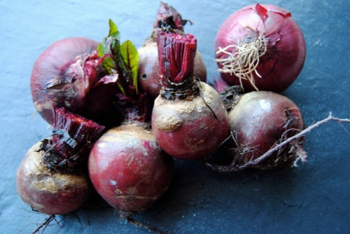 beetroot and red onion still life