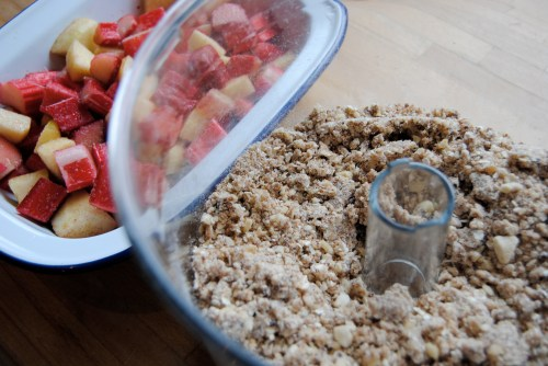 crumble in bowl; fruit in dish