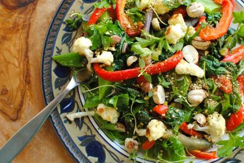roasted cauliflower and kale salad with pistachio dukkah