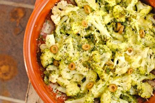cauliflower and tapenade gratin