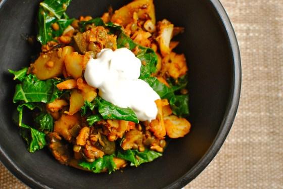 tandoori lentil potato and eggplant hash