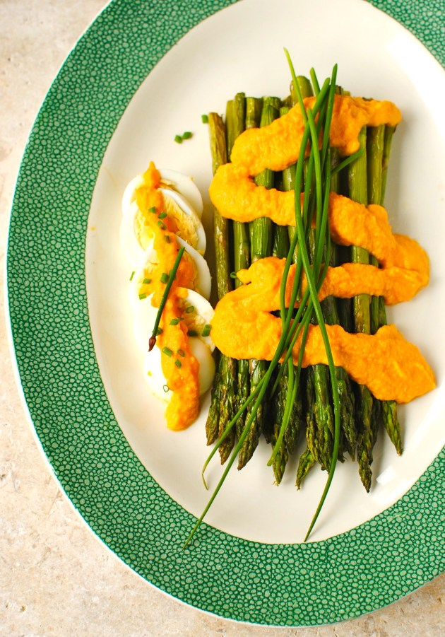 roasted asparagus with carrot-miso dressing
