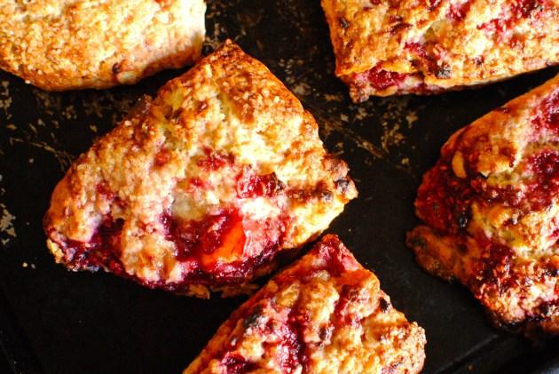 peach melba frangipane scones