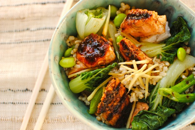 teriyaki salmon rice bowl