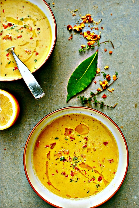 'creamy' zucchini, walnut and thyme soup