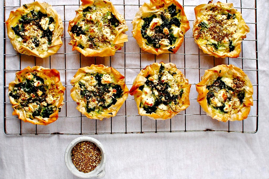 beet tops and courgette tartlet