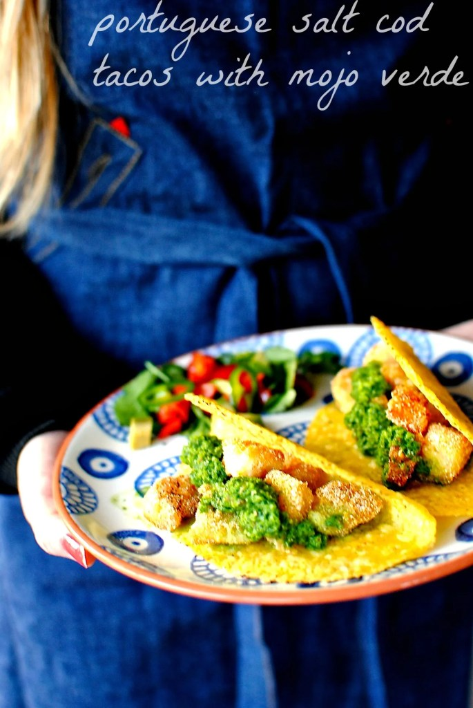 portuguese salt cod tacos with mojo verde // food to glow