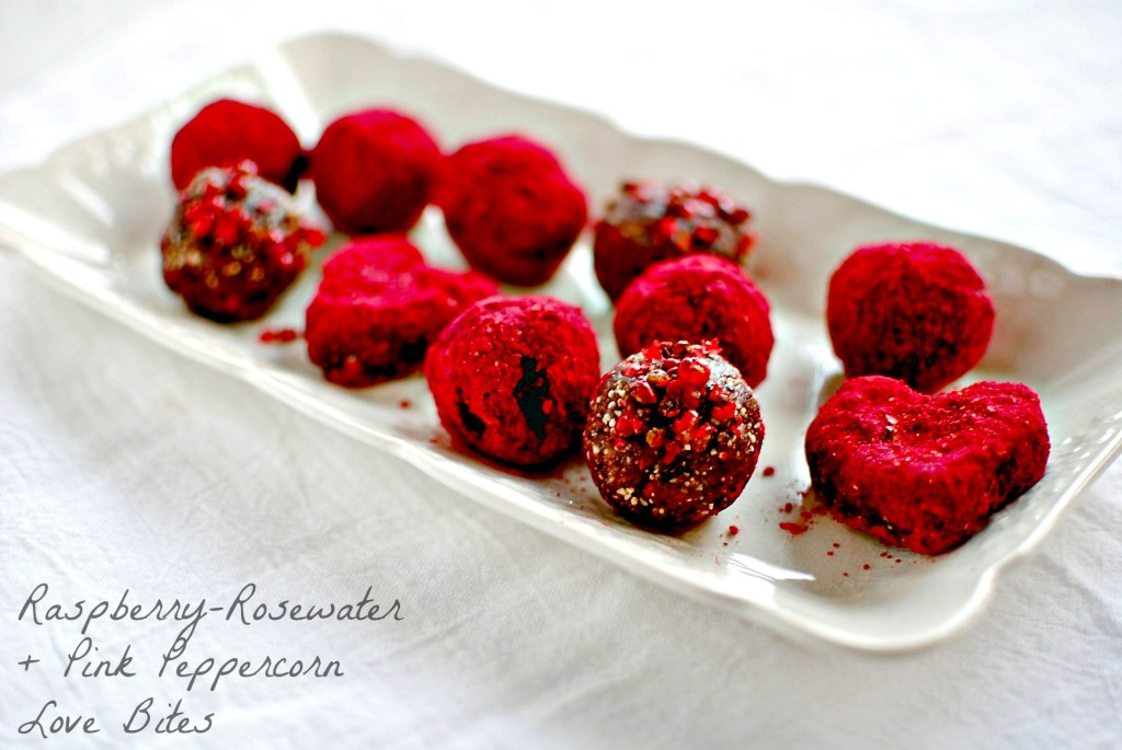 Raspberry, Rosewater, Pink Peppercorn Love Bites // food to glow