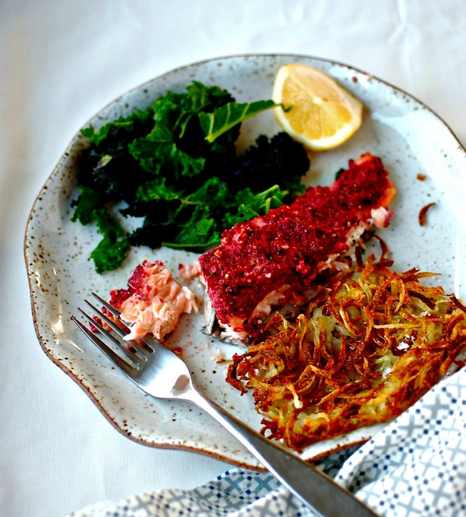 beetroot-walnut-salmon-spiralized-baked-potato-rosti-food-to-glow