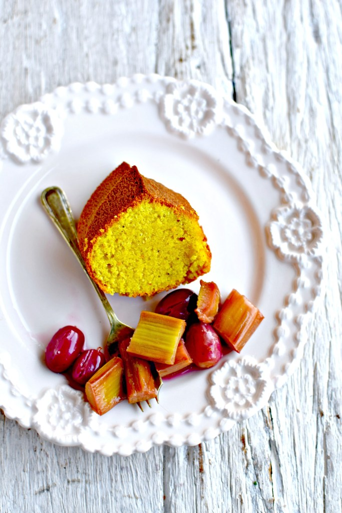 Vanilla and Turmeric Polenta Cake with Roasted Rhubarb and Grapes by food to glow