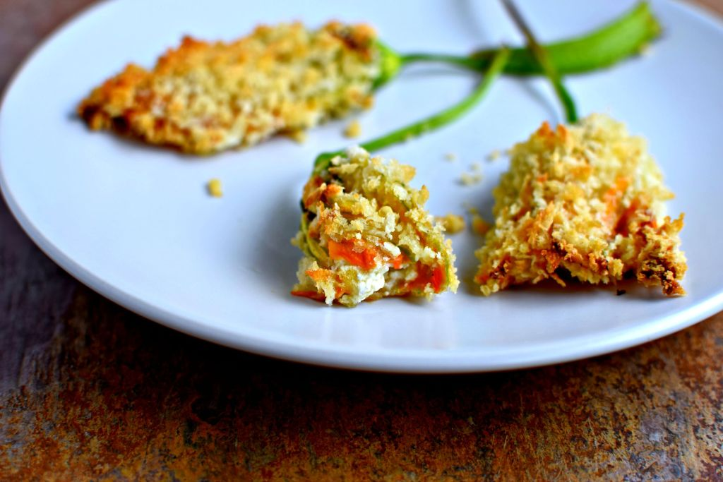 baked two-cheese stuffed squash blossoms // food to glow