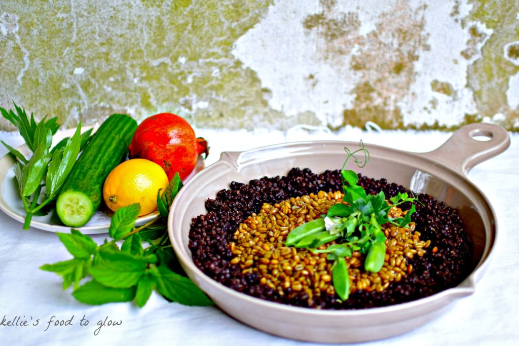 Sauteing cucumber may sound odd, but it is a very French way of using cucumber. Here it is paired with smoky freekeh and hearty, filling black lentils for a warm