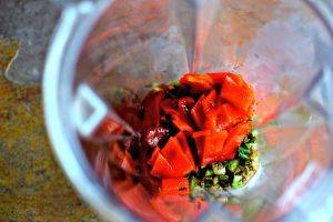 making the sofrito sauce in my trusty Optimum 9400 blender