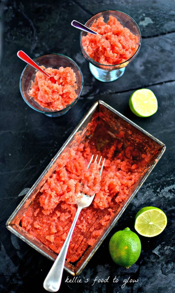 Summer desserts don't get much simpler, delicious or nutritious than this Watermelon & Lime Granita with Chia Seeds. The chia eliminates the need to scrape and scrape to get the desired crystalline texture; contributes to satiety; and helps to keep this simple ice dessert from spiking blood sugar levels. Win-win!