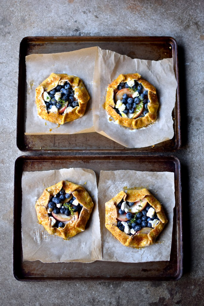 blueberry, peach & goat's cheese galette