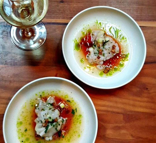 Nordic influences >> carpaccio of langoustine with granny smith apple and lovage, by fifteen head chef, Robbin Holmgren
