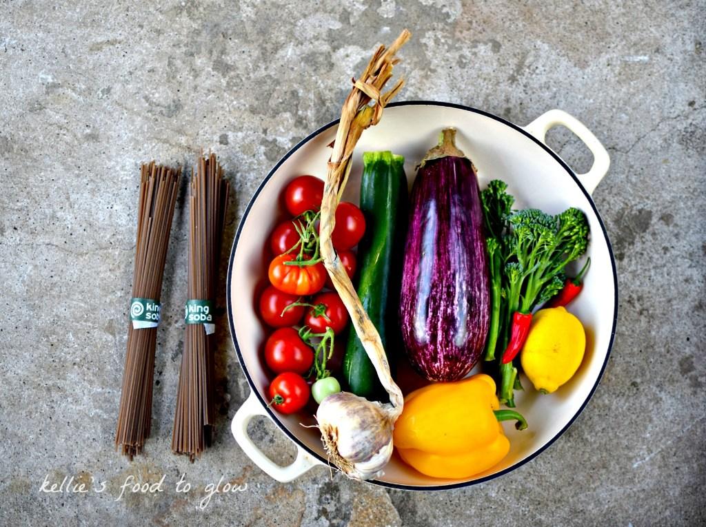 Langoustine, Garlic and Sauteed Rainbow Vegetable Pasta