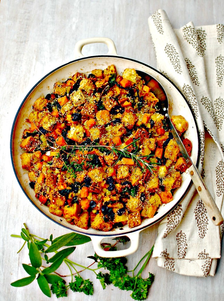 One-Pan Squash and Kale Dressing with Pecans and Sour Cherries - perfect make-ahead side dish Thanksgiving or Christmas