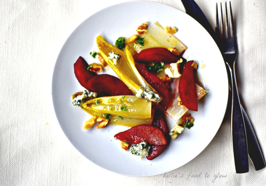 This easy nearly make-ahead salad of port-poached pear, blue cheese and braised Belgian endive is perfect for the holiday table or as a light lunch with added crusty baguette.