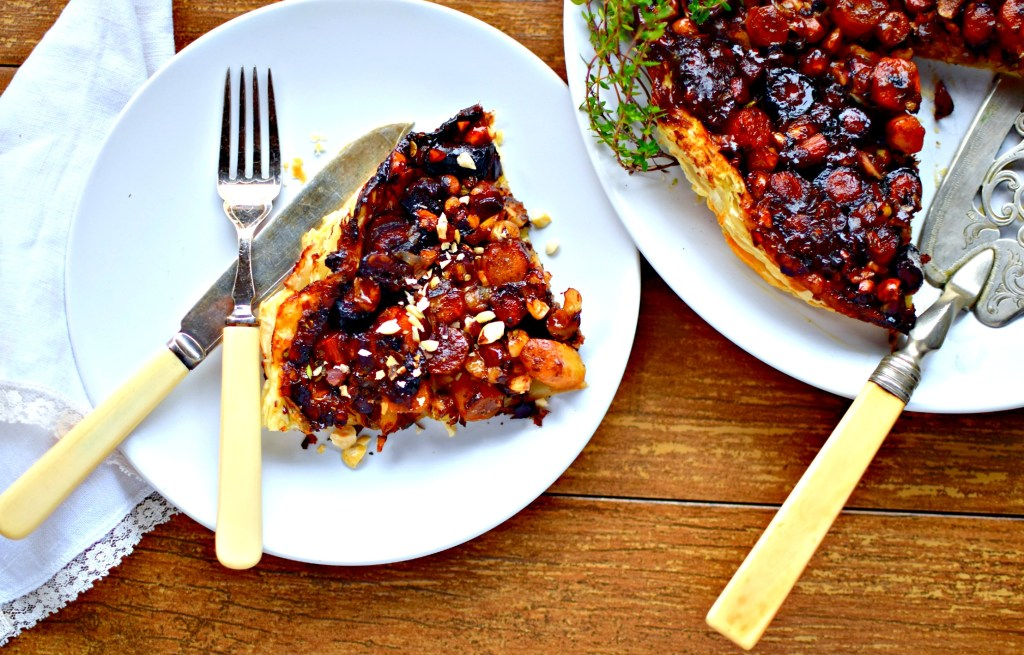 Flavoured with a balsamic and thyme syrup this carrot, taleggio cheese and hazelnut tart is special enough for the holiday table but easy enough for a midweek family dinner. Serve with creamed kale and pureed celeriac for a perfect autumn-winter meal.