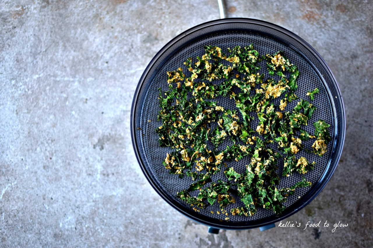 "If you can eat a whole bag of heart-stoppingly expensive vegan ""cheese"" kale chips without pausing for sharing, or breathe, this is the recipe for you. Add in the fact that it is a bit spicy, a bit ""raunchy"" (which my MacBook desperately wants to be ""raunchy"") and we have a serious contender for favourite snack ever. Raw-ish, nutritious, delicious. And affordable."