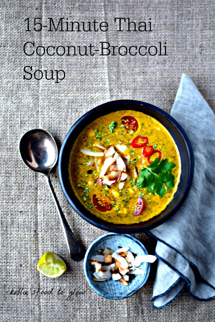 A 15-minute vegan take on the Thai dish, tom kha kai (chicken coconut soup). A green soup in disguise.