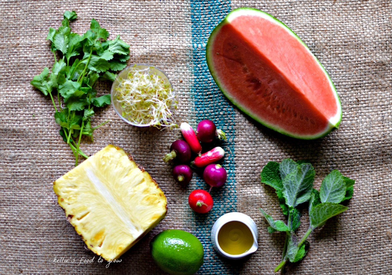Pineapple (and melon) goes a bit savoury in this simple lime-scented salad. The key is to slice thinly, scatter with torn herbs and, just before serving, spritz over fresh lime juice and douse - and I mean douse - in best extra virgin olive oil. Salad as healthy dessert or classy starter. So easy and elegant, too.
