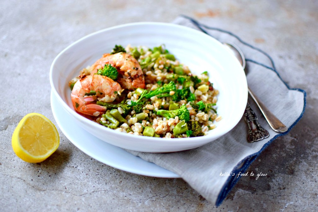 Forget stirring and stirring to get your perfect risotto, try baking this barley version, studded with Tenderstem broccoli and topped with garlic-butter langoustines or prawns. An easy, midweek dinner.