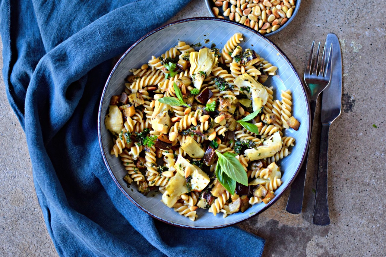 Pasta With Slow Cooked Aubergines Artichokes And