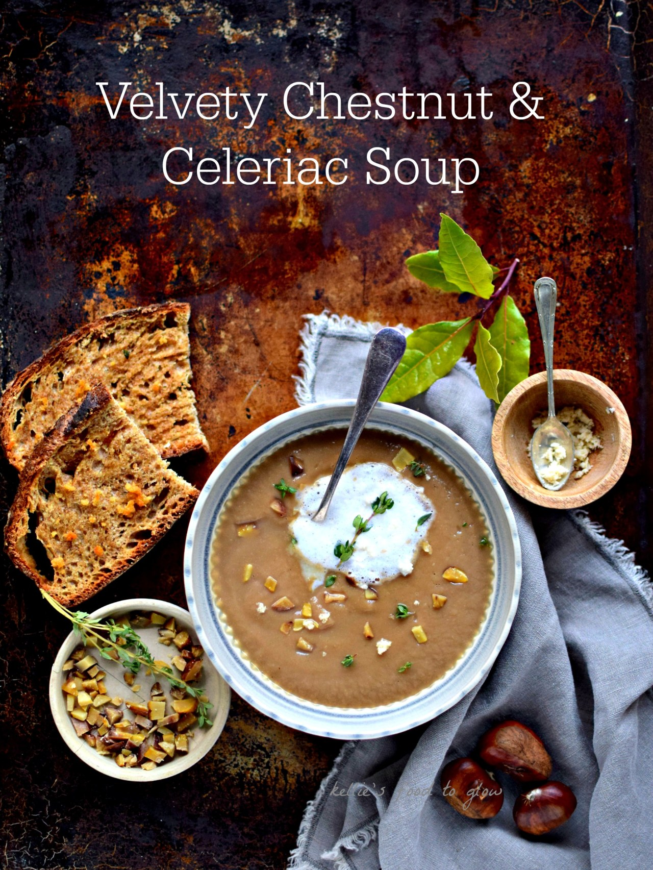Chestnuts and celeriac bring out the best in each other in this luxurious, velvety smooth low calorie winter soup. Add an easy foam, plus horseradish-truffle toast to make it fancy - even on a wet weekday afternoon. The soup is gluten-free and vegan.