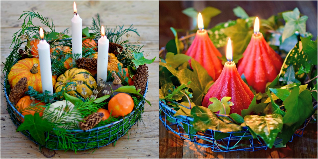Natural garden-inspired winter table decorations. Perfect for a laid back Christmas table or on your coffee table.