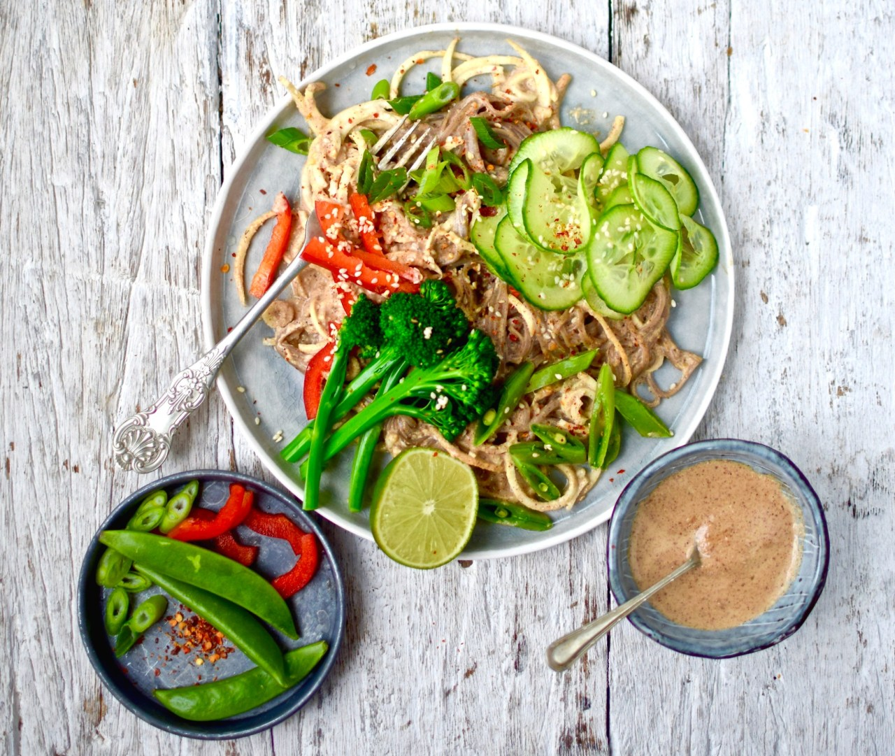 """Ring in the Year of the Rooster with this """"lucky"""" dish of spicy peanut butter and parsnip noodles. I can't promise health, wealth and happiness but I can pinky-swear that you will love this flavour-jammed quick, easy, lower carb vegan recipe. Adjust the spices to your liking."""